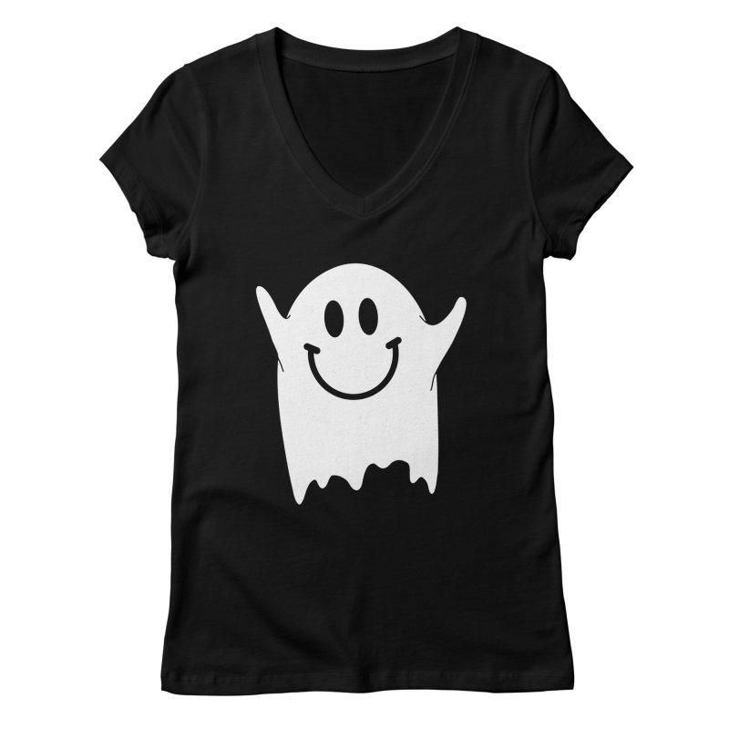 Happy ghost Women's Regular V-Neck by clingcling's Artist Shop
