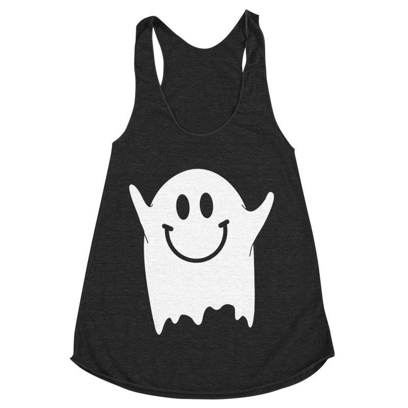 Happy ghost Women's Racerback Triblend Tank by clingcling's Artist Shop