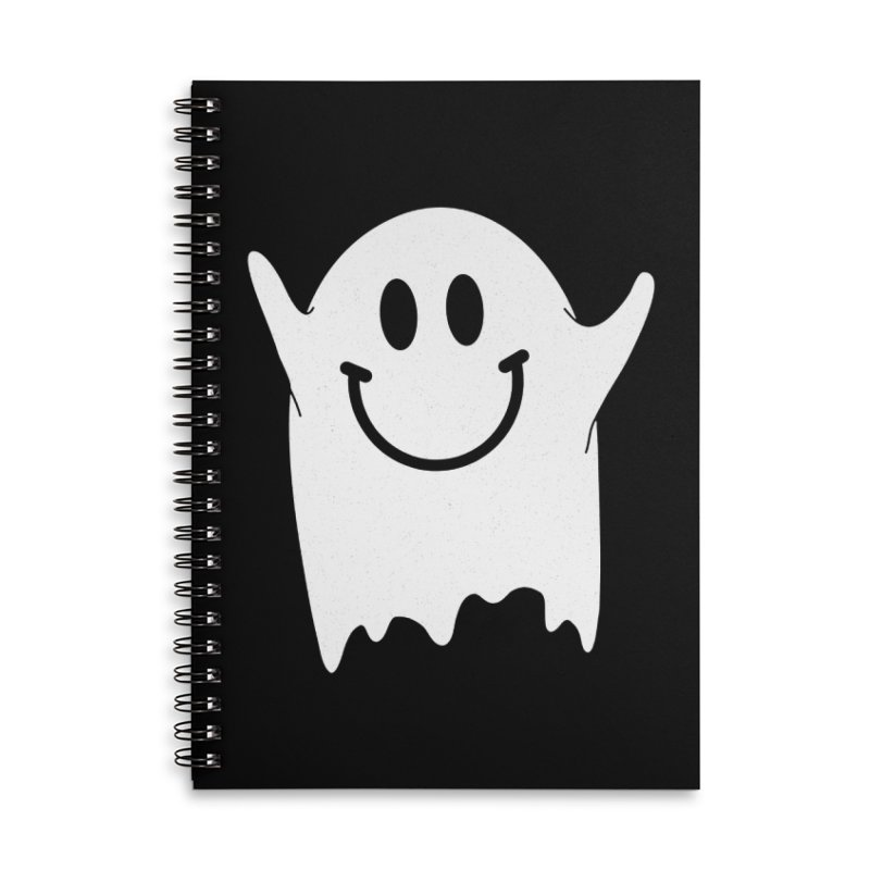Happy ghost Accessories Lined Spiral Notebook by clingcling's Artist Shop