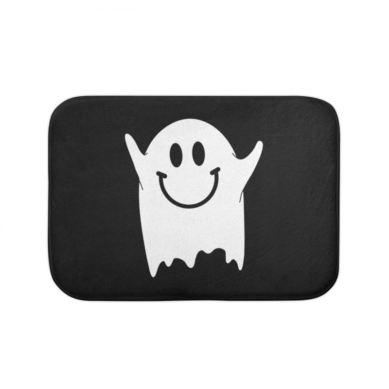 Happy ghost Home Bath Mat by clingcling's Artist Shop