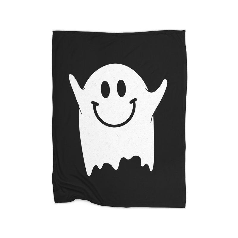 Happy ghost Home Fleece Blanket Blanket by clingcling's Artist Shop