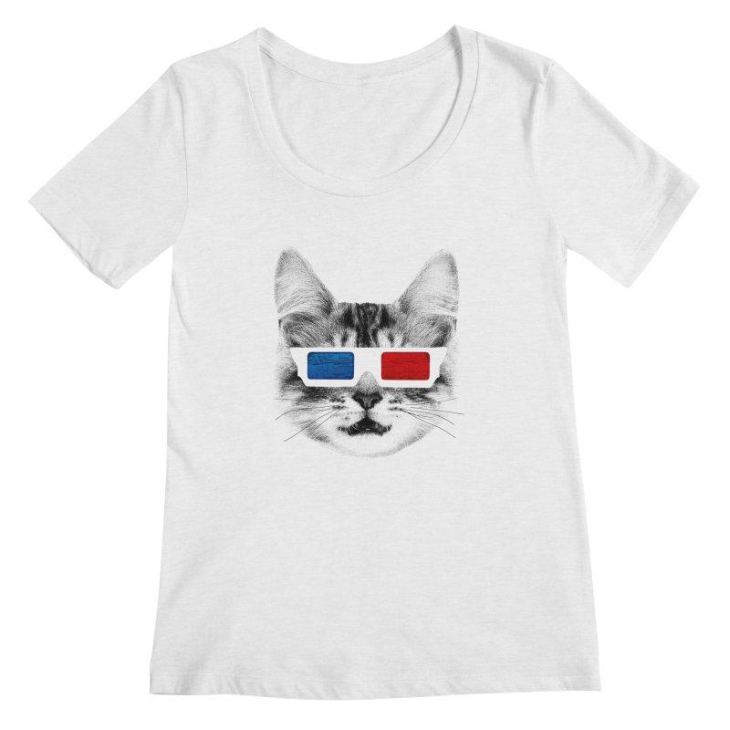 3D Kitty Women's Regular Scoop Neck by clingcling's Artist Shop