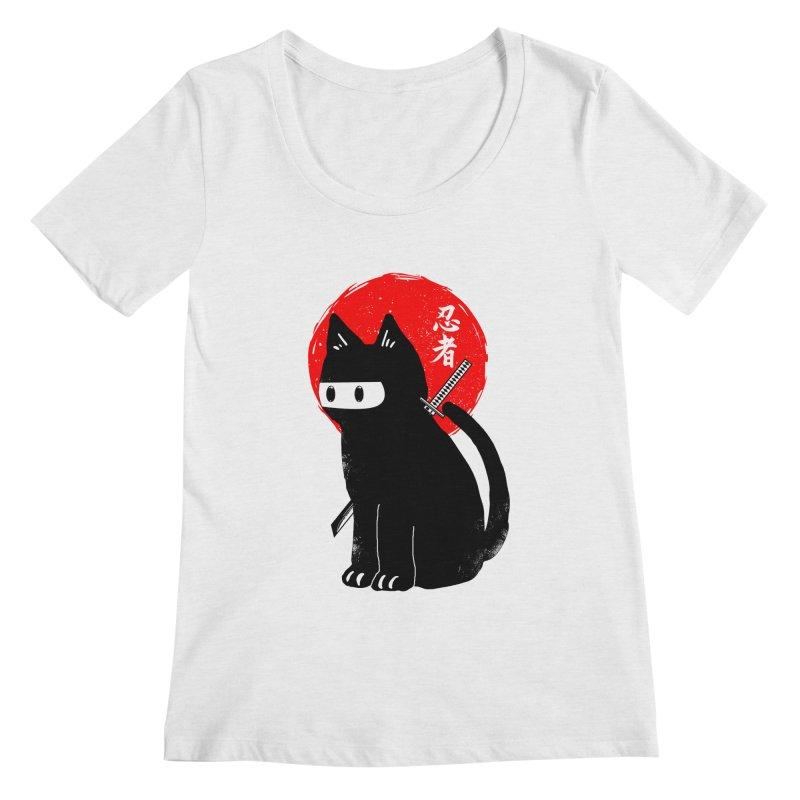Black ninja cat Women's Regular Scoop Neck by clingcling's Artist Shop