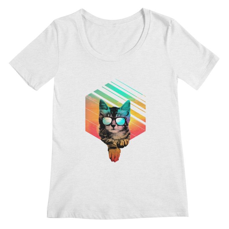 Cool Summer Cat Women's Regular Scoop Neck by clingcling's Artist Shop