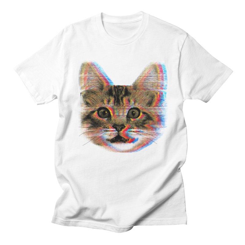 Glitch Cat Men's Regular T-Shirt by clingcling's Artist Shop