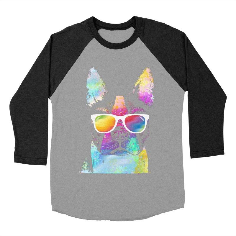Rainbow summer pug Men's Baseball Triblend Longsleeve T-Shirt by clingcling's Artist Shop