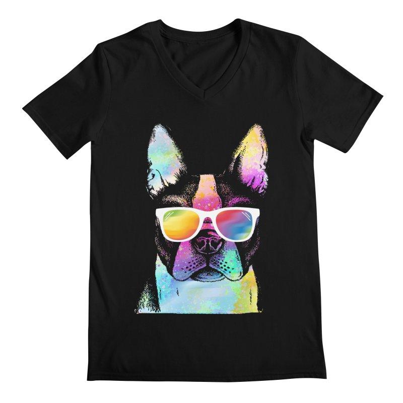 Rainbow summer pug Men's Regular V-Neck by clingcling's Artist Shop