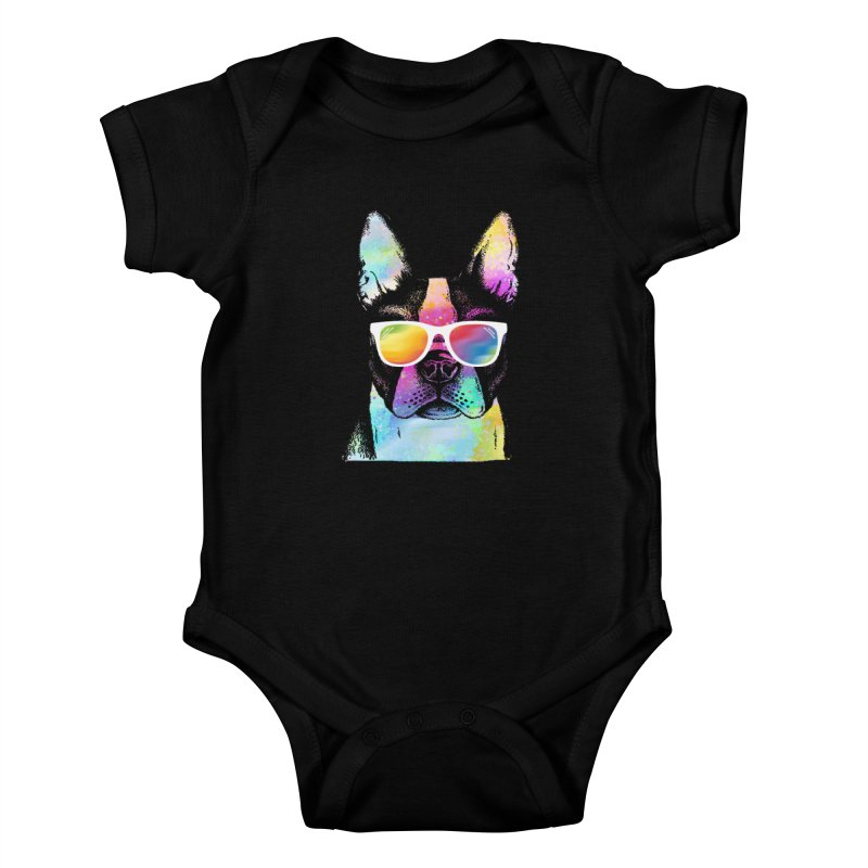 Rainbow summer pug Kids Baby Bodysuit by clingcling's Artist Shop