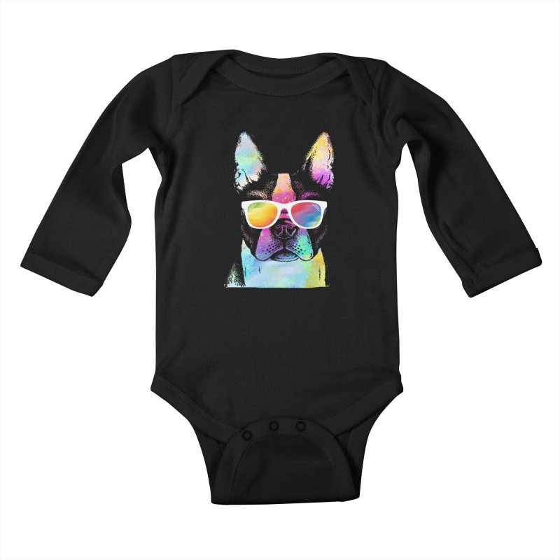 Rainbow summer pug Kids Baby Longsleeve Bodysuit by clingcling's Artist Shop