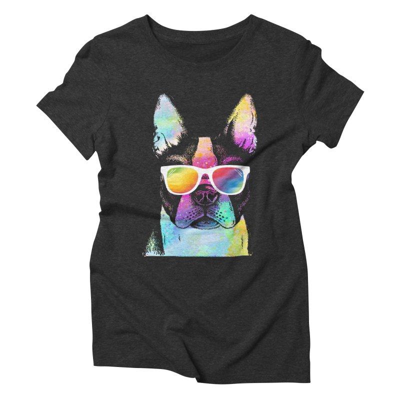 Rainbow summer pug Women's Triblend T-Shirt by clingcling's Artist Shop