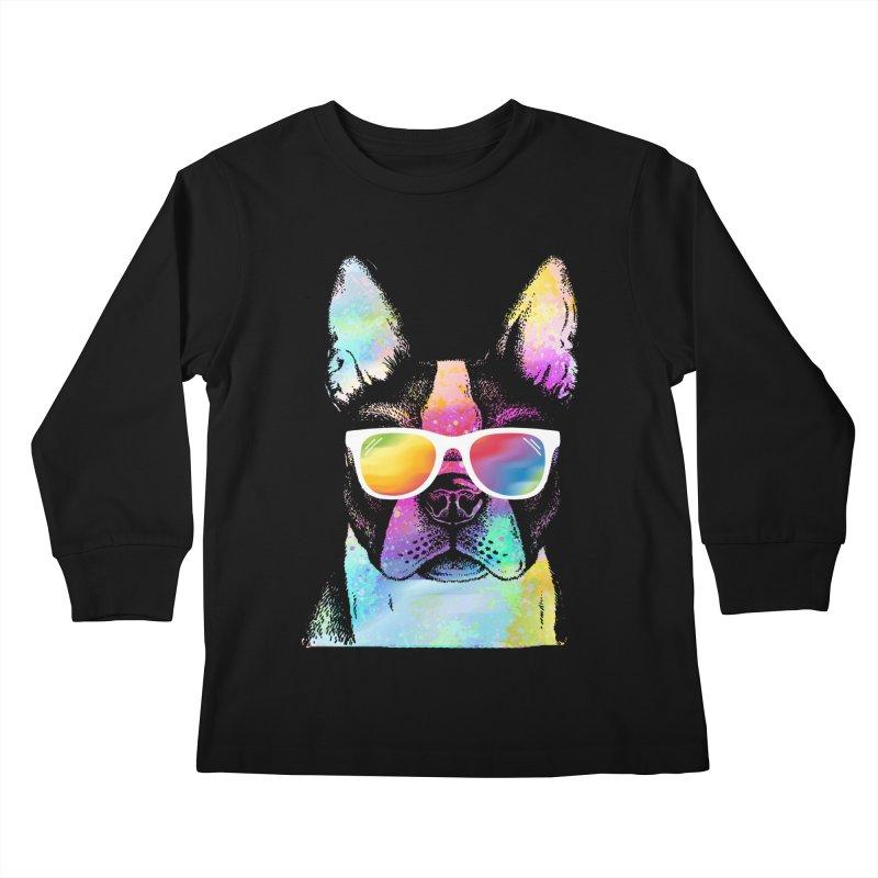 Rainbow summer pug Kids Longsleeve T-Shirt by clingcling's Artist Shop