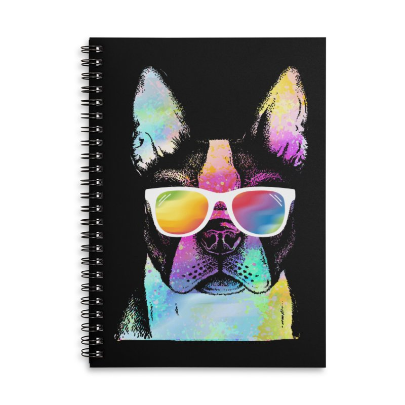 Rainbow summer pug Accessories Lined Spiral Notebook by clingcling's Artist Shop