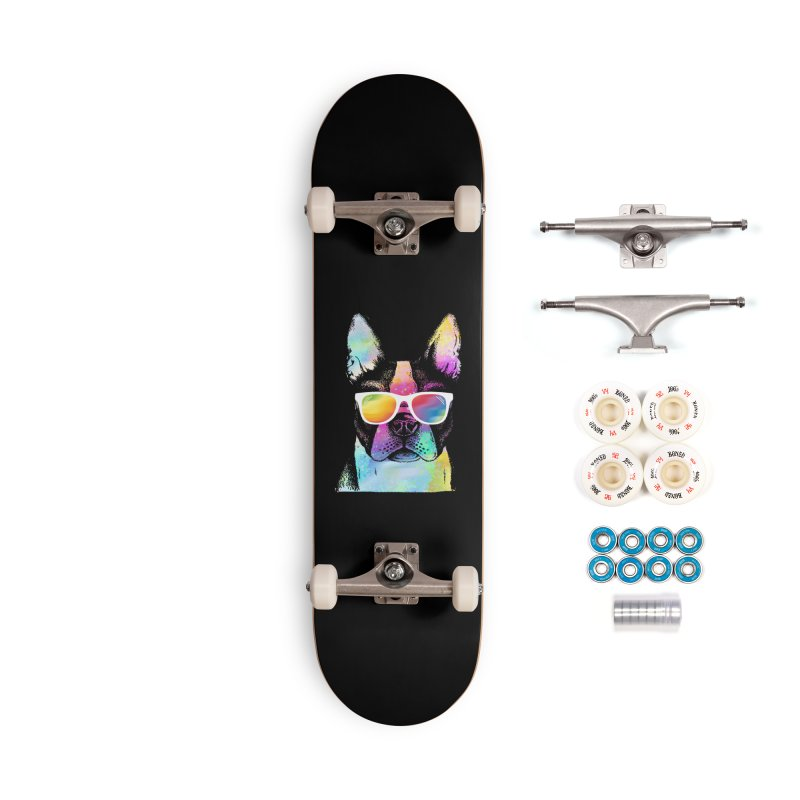 Rainbow summer pug Accessories Complete - Premium Skateboard by clingcling's Artist Shop