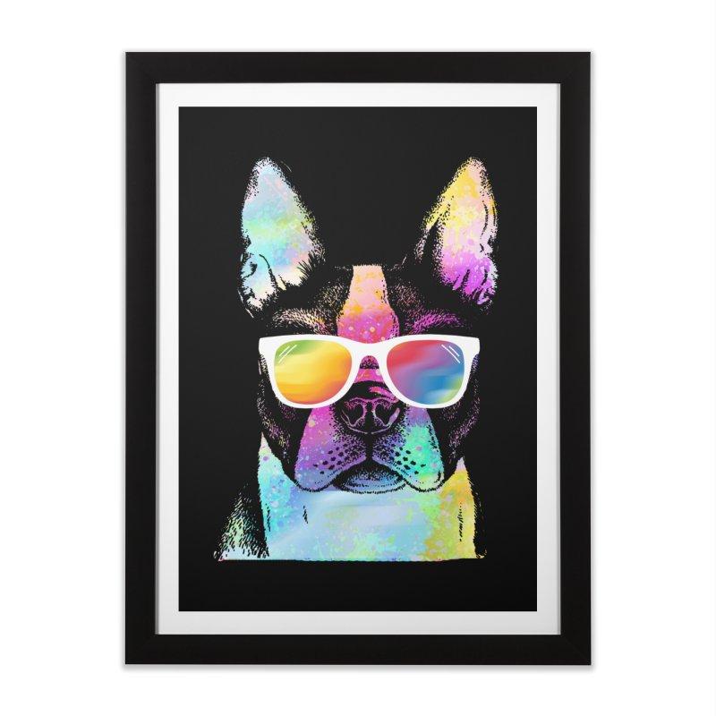 Rainbow summer pug Home Framed Fine Art Print by clingcling's Artist Shop