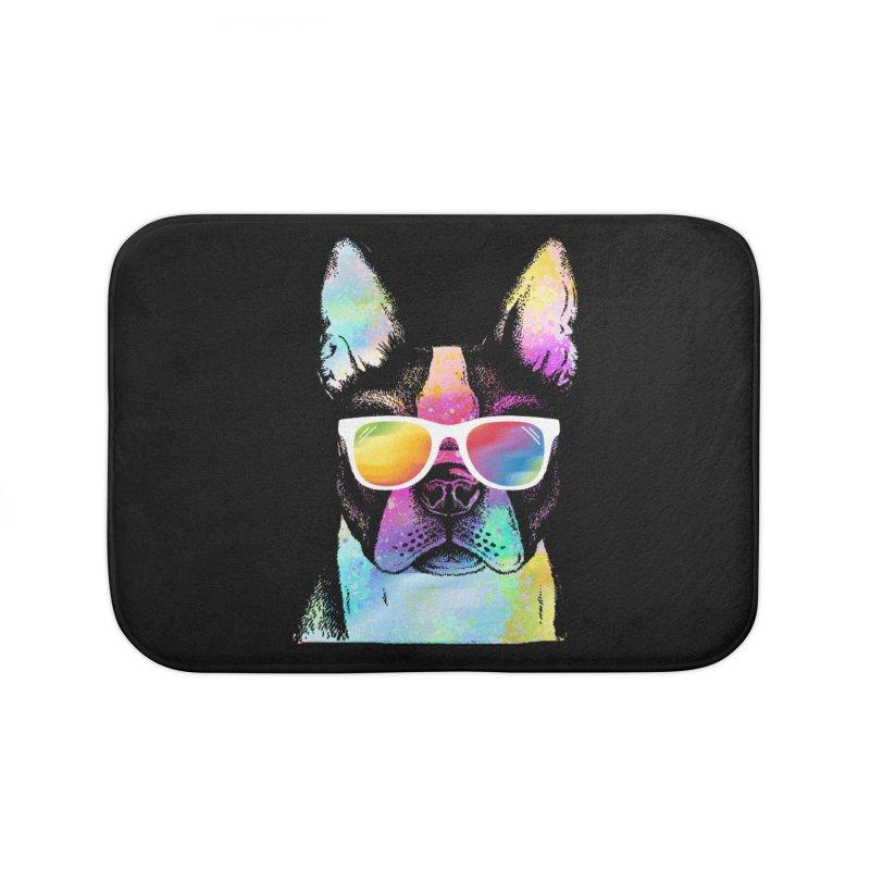 Rainbow summer pug Home Bath Mat by clingcling's Artist Shop