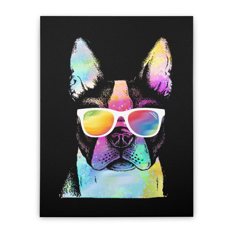 Rainbow summer pug Home Stretched Canvas by clingcling's Artist Shop