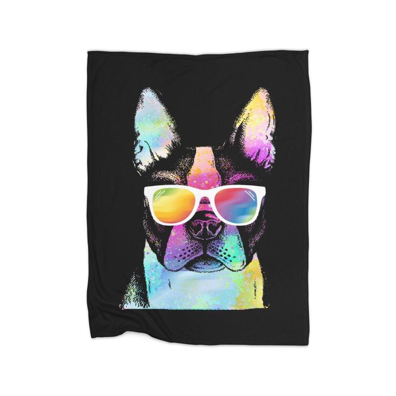 Rainbow summer pug Home Fleece Blanket Blanket by clingcling's Artist Shop