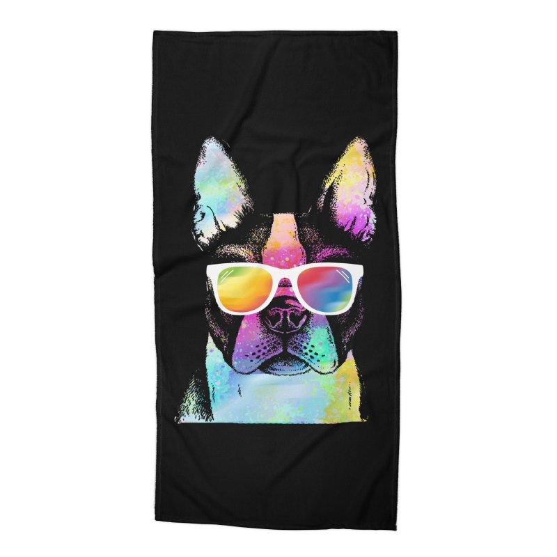 Rainbow summer pug Accessories Beach Towel by clingcling's Artist Shop