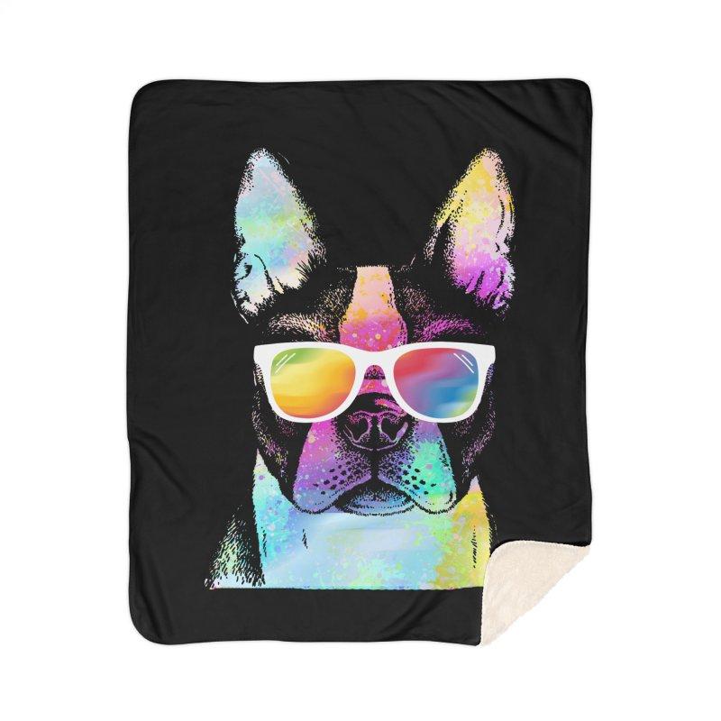 Rainbow summer pug Home Sherpa Blanket Blanket by clingcling's Artist Shop