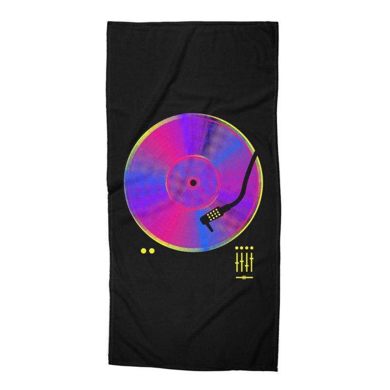 Retro Music Accessories Beach Towel by clingcling's Artist Shop