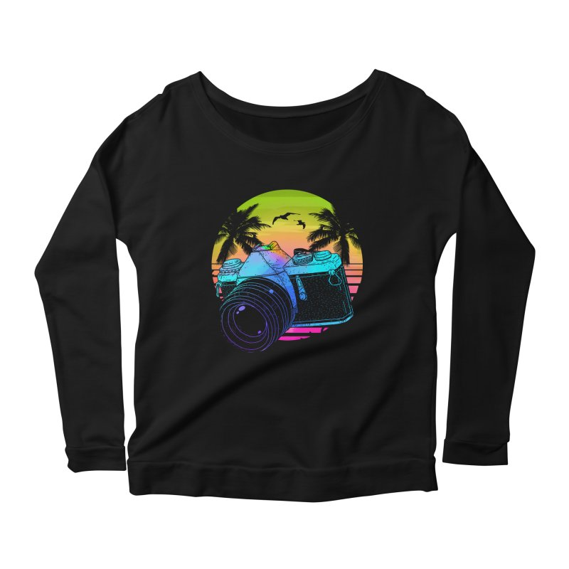 Retro Camera Women's Scoop Neck Longsleeve T-Shirt by clingcling's Artist Shop