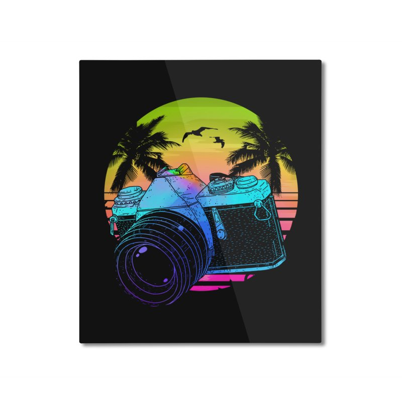 Retro Camera Home Mounted Aluminum Print by clingcling's Artist Shop