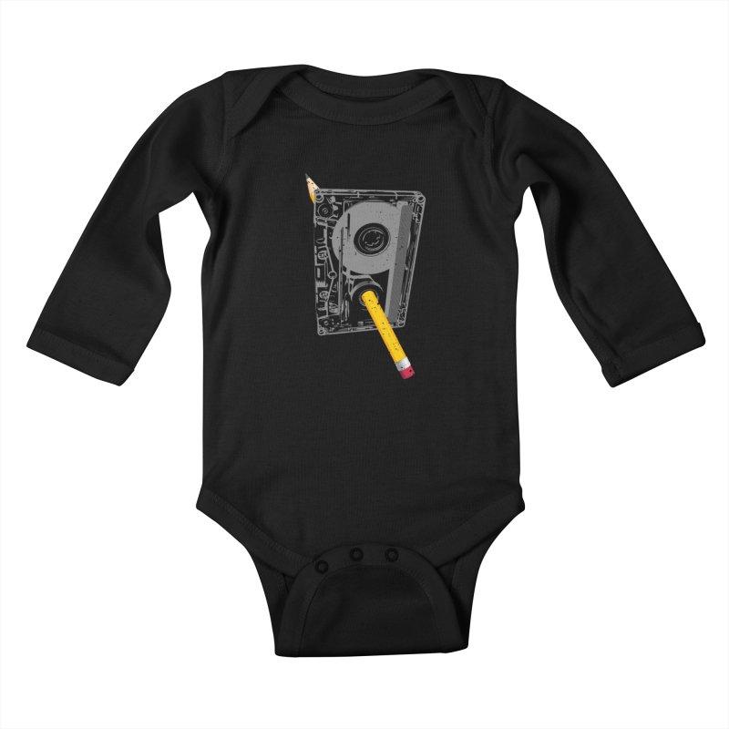 Rewind Kids Baby Longsleeve Bodysuit by clingcling's Artist Shop