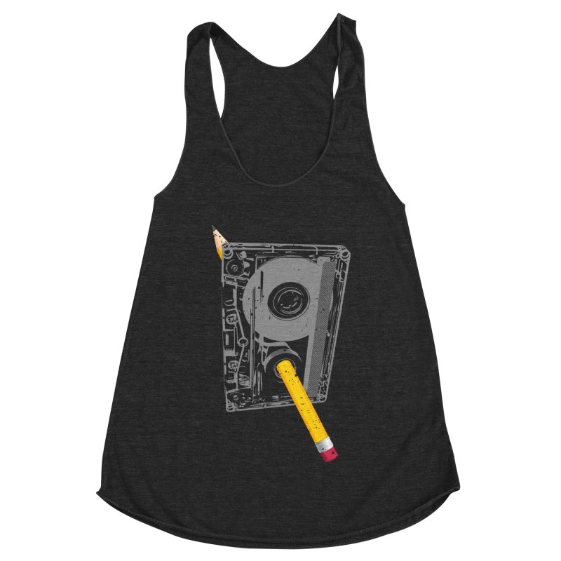 Rewind Women's Racerback Triblend Tank by clingcling's Artist Shop