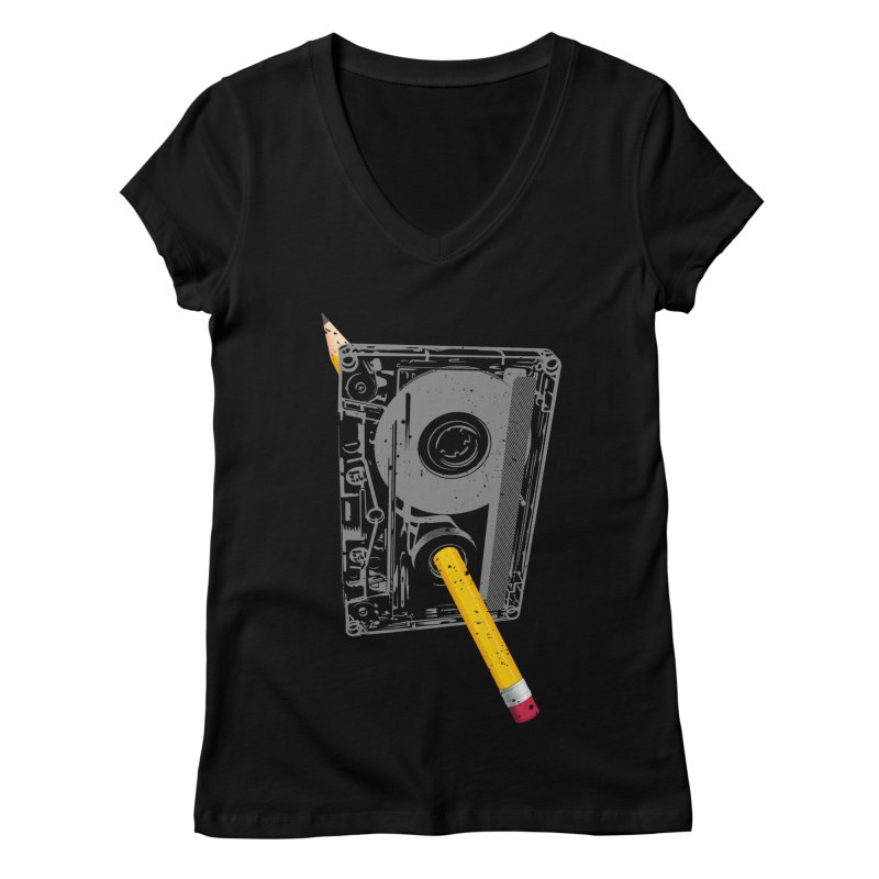 Rewind Women's Regular V-Neck by clingcling's Artist Shop