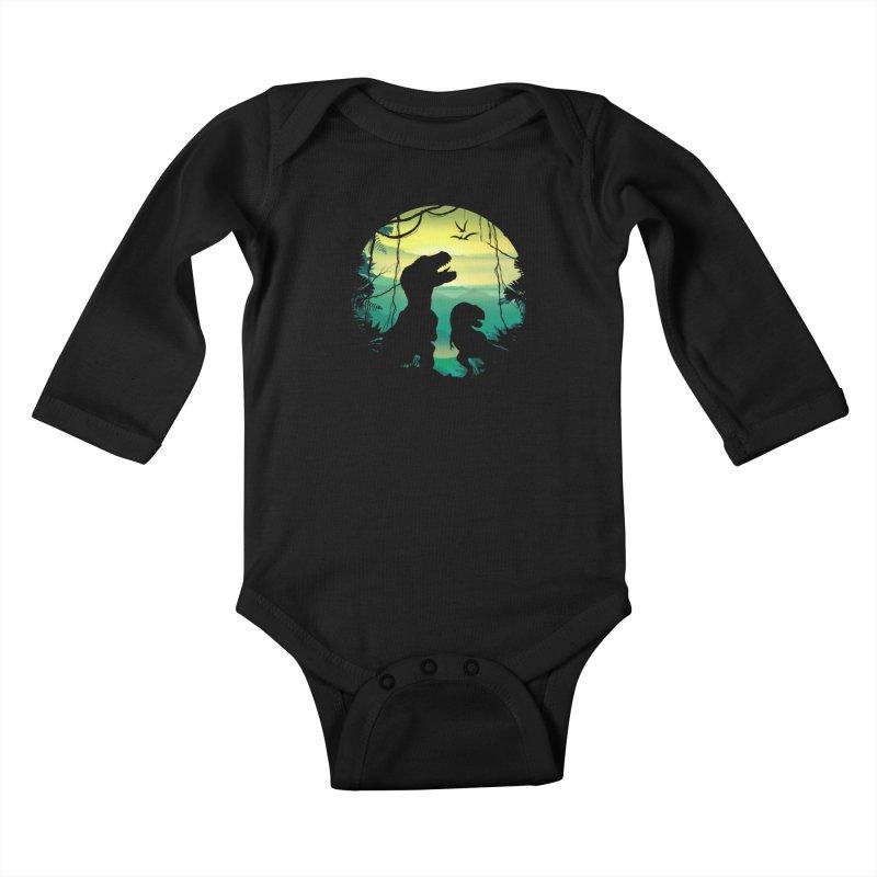 T-rex Kids Baby Longsleeve Bodysuit by clingcling's Artist Shop