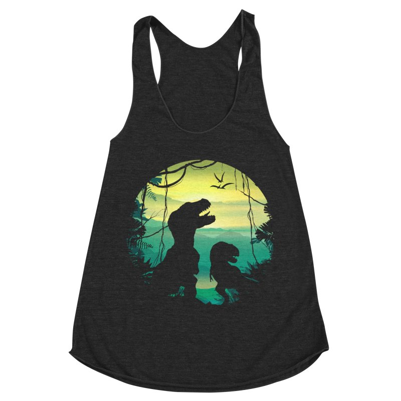 T-rex Women's Racerback Triblend Tank by clingcling's Artist Shop