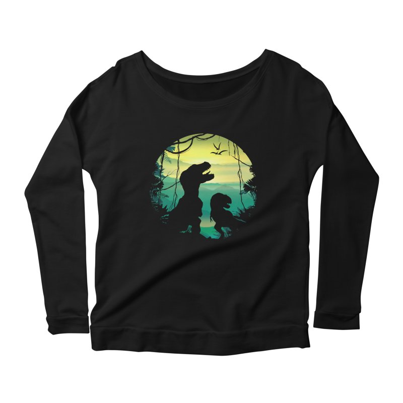 T-rex Women's Scoop Neck Longsleeve T-Shirt by clingcling's Artist Shop