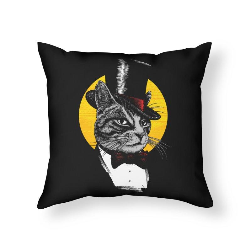 Mr. Cat Home Throw Pillow by clingcling's Artist Shop