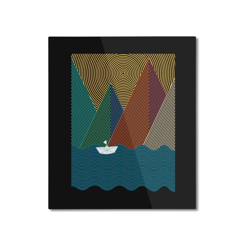 Geometry mountain waves Home Mounted Aluminum Print by clingcling's artist shop