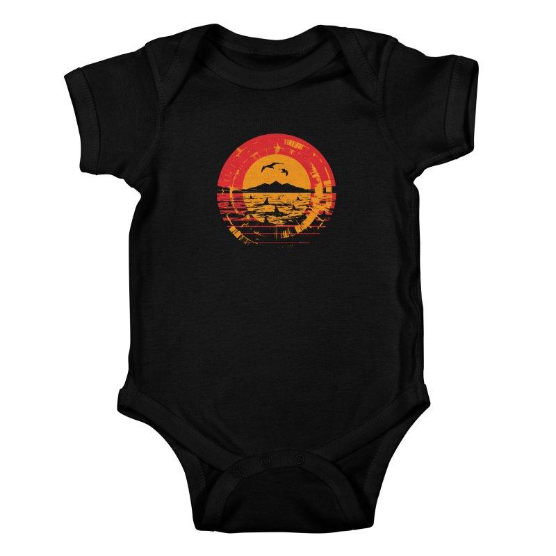 Shark Island Kids Baby Bodysuit by clingcling's artist shop