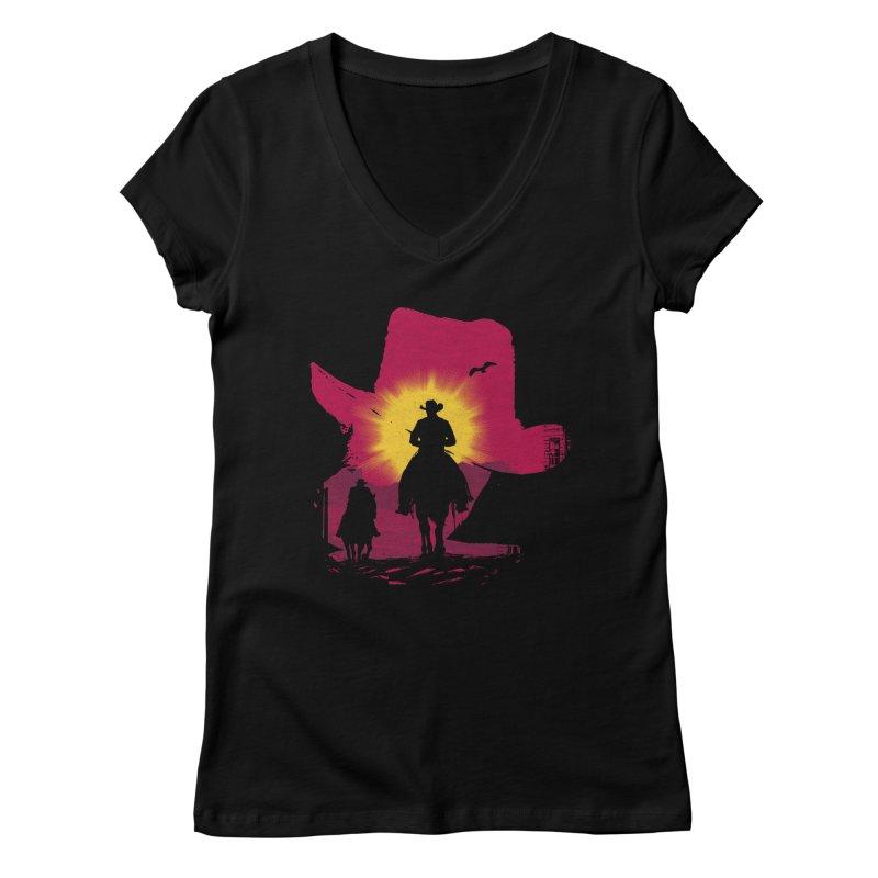 Sunset Rider Women's V-Neck by clingcling's artist shop