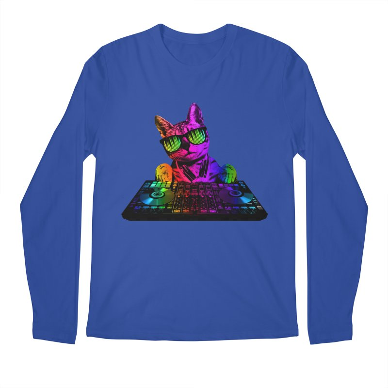 Cool Cat Dj Men's Longsleeve T-Shirt by clingcling's Artist Shop
