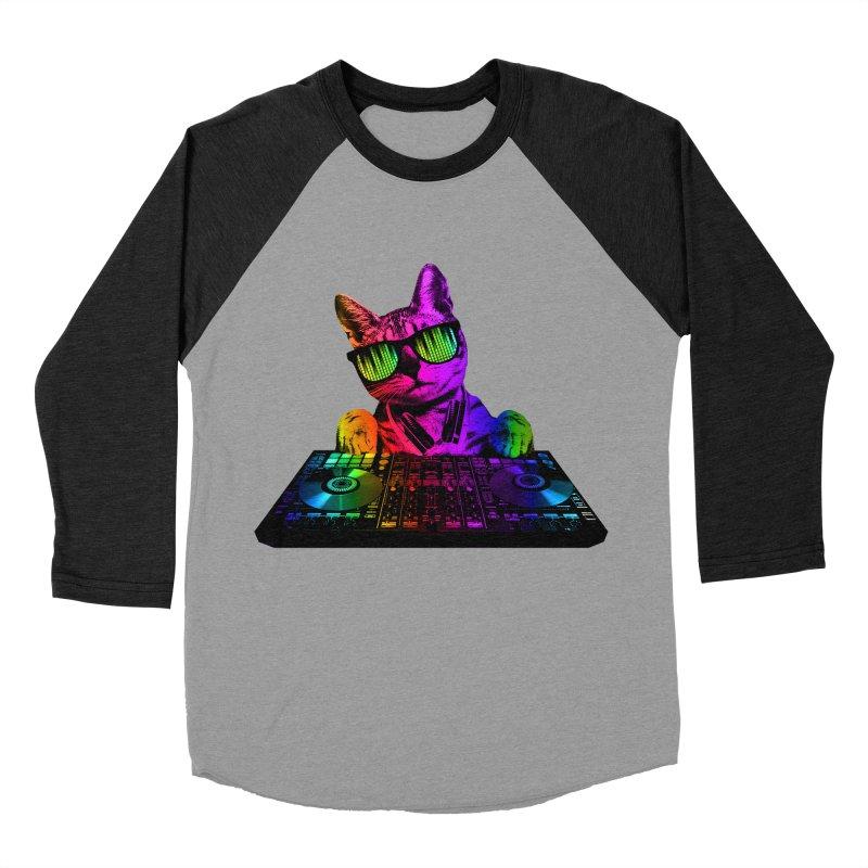 Cool Cat Dj Women's Baseball Triblend T-Shirt by clingcling's Artist Shop