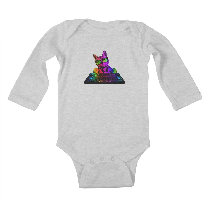 Cool Cat Dj Kids Baby Longsleeve Bodysuit by clingcling's Artist Shop