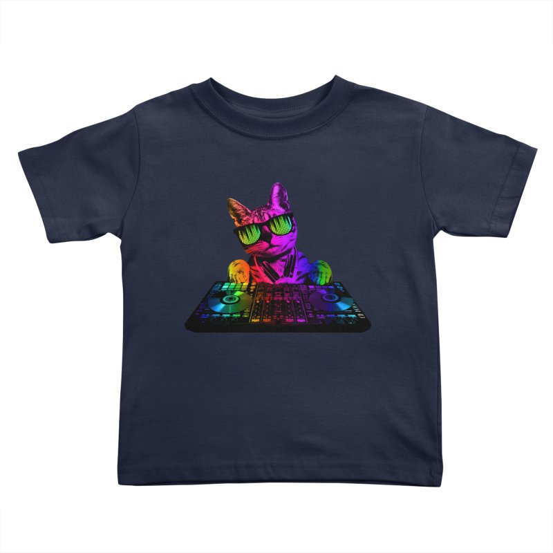 Cool Cat Dj Kids Toddler T-Shirt by clingcling's Artist Shop