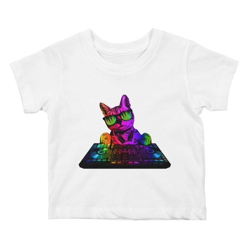 Cool Cat Dj Kids Baby T-Shirt by clingcling's Artist Shop