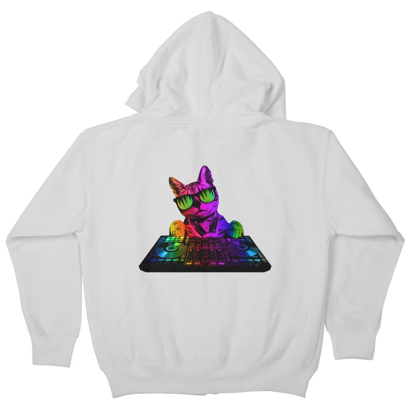 Cool Cat Dj Kids Zip-Up Hoody by clingcling's Artist Shop
