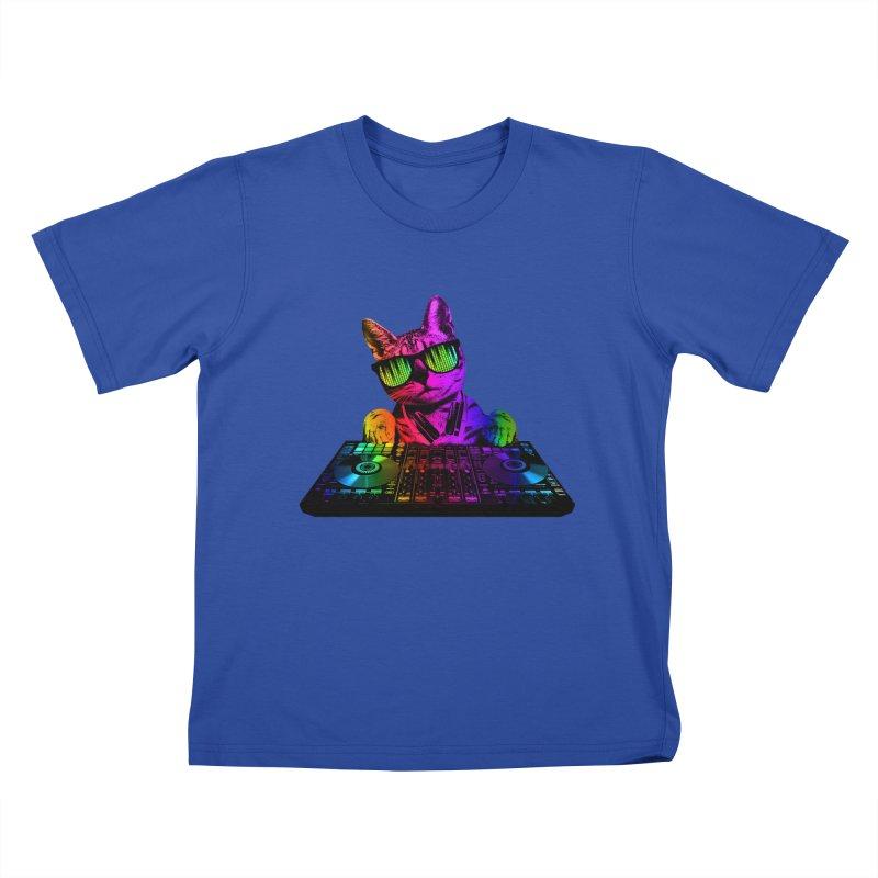 Cool Cat Dj Kids T-Shirt by clingcling's Artist Shop