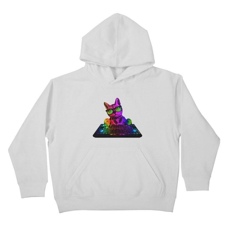 Cool Cat Dj Kids Pullover Hoody by clingcling's Artist Shop