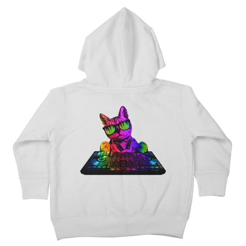 Cool Cat Dj Kids Toddler Zip-Up Hoody by clingcling's Artist Shop