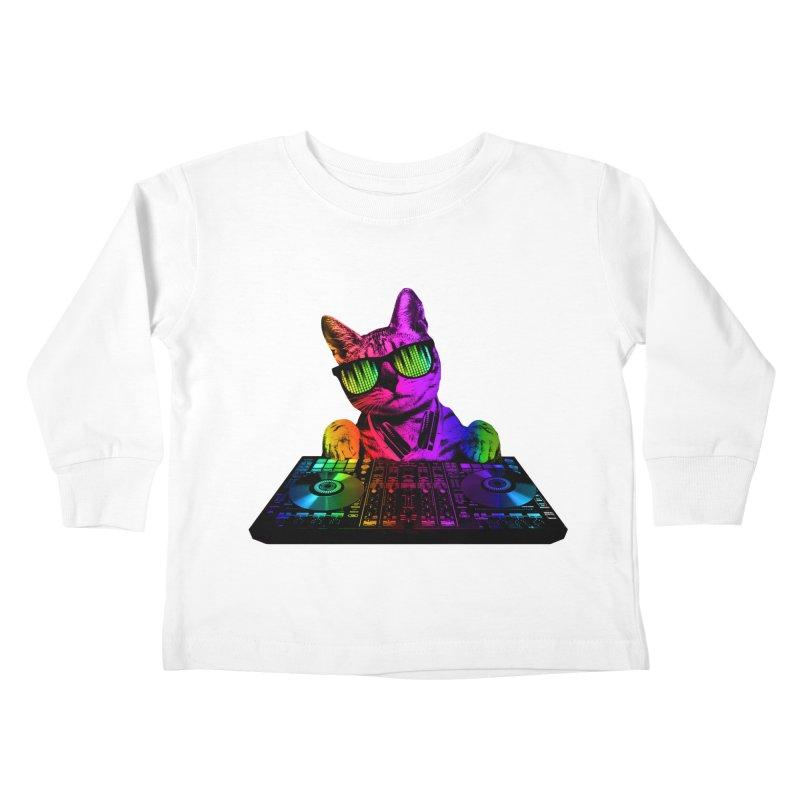 Cool Cat Dj Kids Toddler Longsleeve T-Shirt by clingcling's Artist Shop
