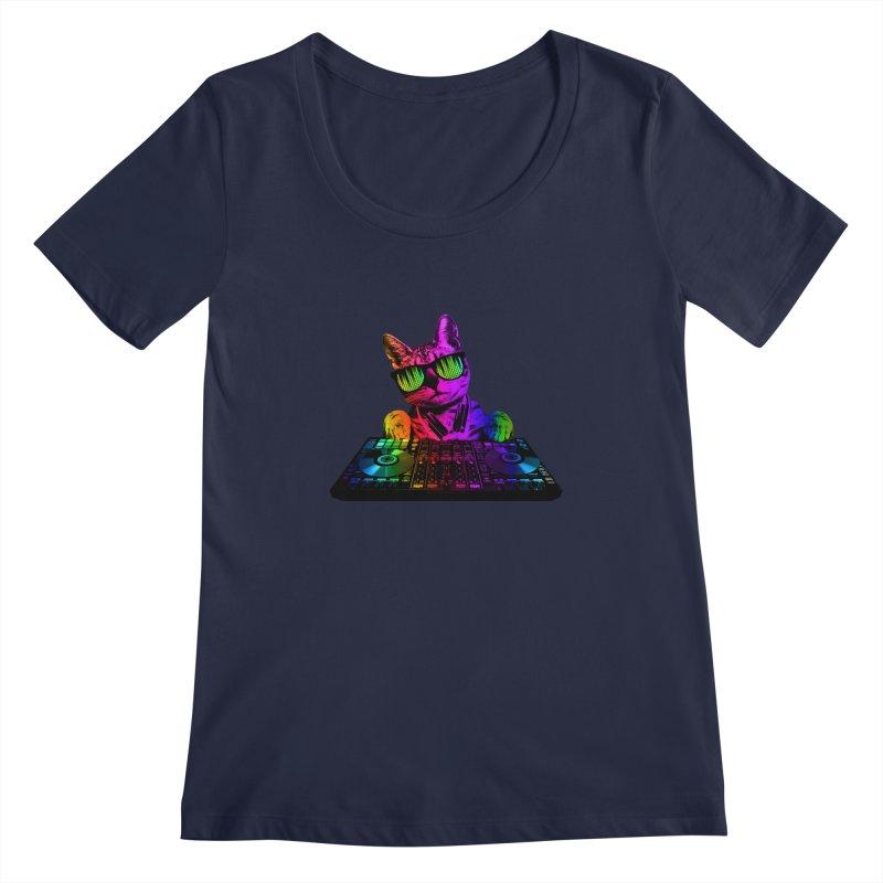 Cool Cat Dj Women's Scoopneck by clingcling's Artist Shop