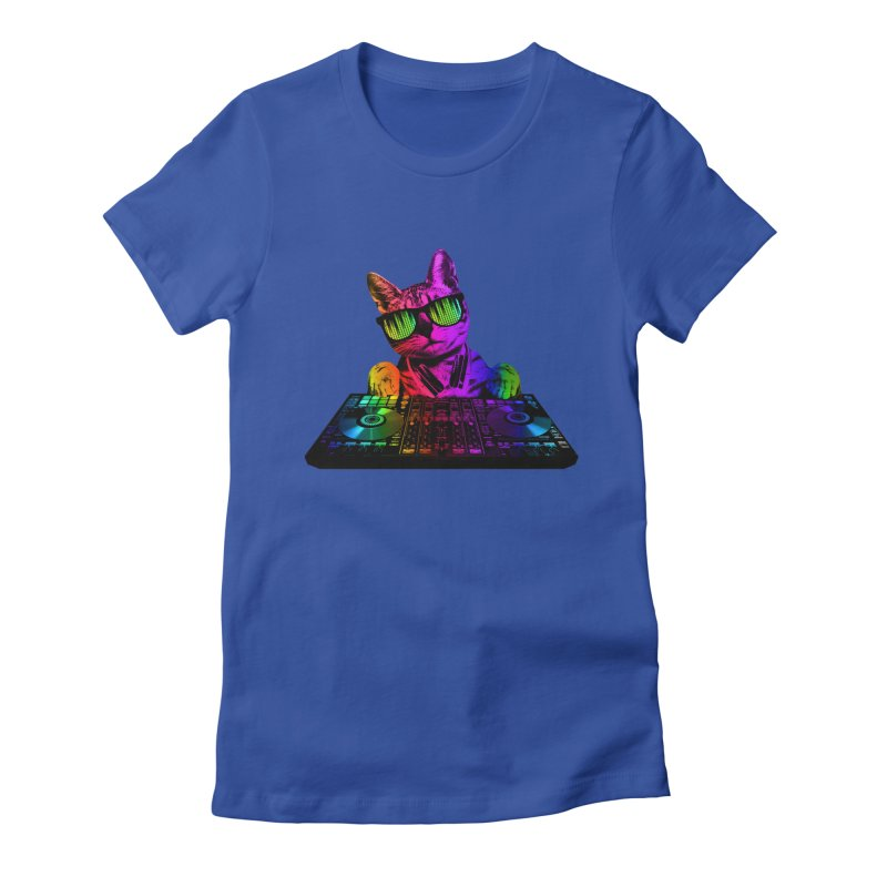 Cool Cat Dj Women's Fitted T-Shirt by clingcling's Artist Shop