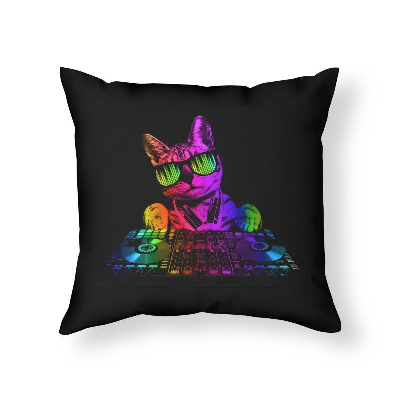 Cool Cat Dj Home Throw Pillow by clingcling's Artist Shop