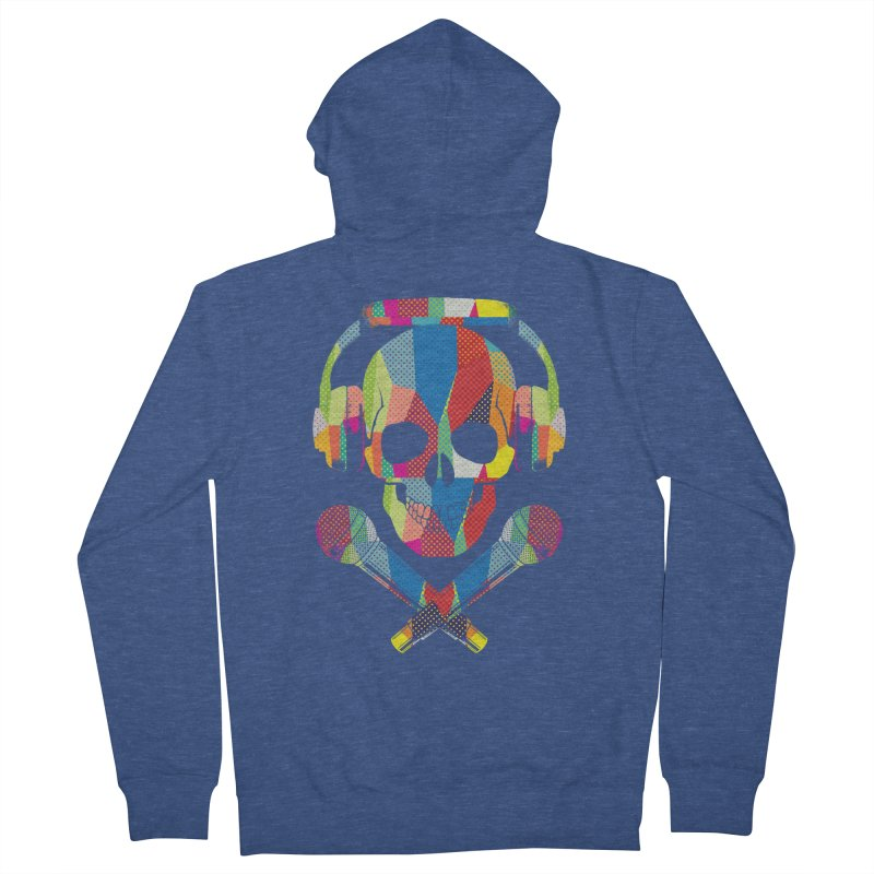 Retro Skull Men's French Terry Zip-Up Hoody by clingcling's Artist Shop